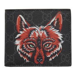 Gucci Black GG Supreme Wolf Wallet 192451M16401801GB