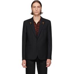 Saint Laurent Black Striped Beaded Lapel Blazer 192418M19500204GB