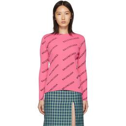 Balenciaga Pink Ribbed Diagonal Logo Sweater 192342F09601402GB