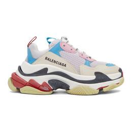 Balenciaga White and Blue Triple S Sneakers 192342F12802301GB