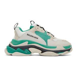 Balenciaga White and Green Triple S Sneakers 192342M23703007GB