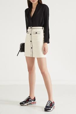 Белая юбка из фактурного хлопка Maje 888149609