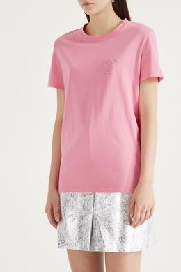 Розовая футболка с вышивкой Maje 888149603
