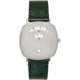 Gucci Silver and Green Grip Watch 192451M16501101GB