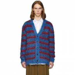 Marni Blue and Red Mohair Cardigan 192379M20000402GB