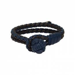 Bottega Veneta Blue and Black Intrecciato Double Bracelet 192798F02000201GB