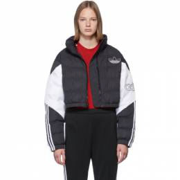 Adidas Originals Black and White Cropped Down Jacket 192751F06301704GB