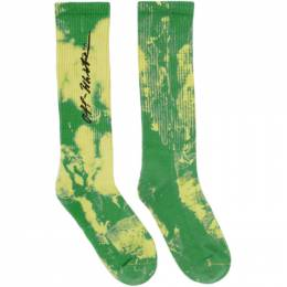 Off-White Green Tie-Dye Socks 192607F07601701GB