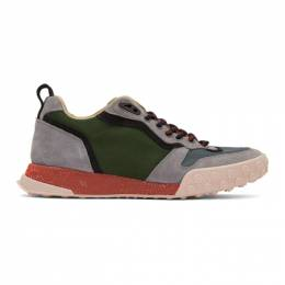 Lanvin Grey and Green Technical Low-Top Sneakers 192254M23700402GB
