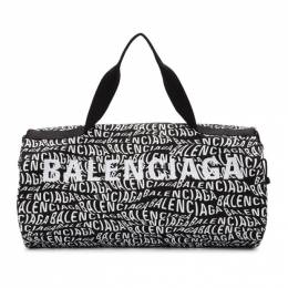 Balenciaga Black and White Logo Wave Gym Bag 192342M16900301GB