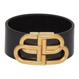 Balenciaga Black Leather BB Bracelet 192342F02000401GB