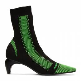 Misbhv Black and Green Active Square Ankle Boots 192937F11300203GB