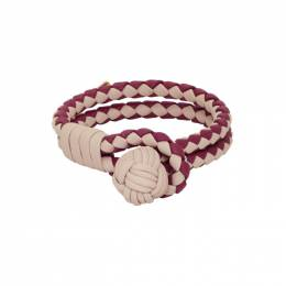 Bottega Veneta SSENSE Exclusive Red and Beige Intrecciato Double Bracelet 192798F02000401GB