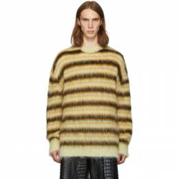 Marni Yellow Striped Gauze Sweater 192379M20100603GB
