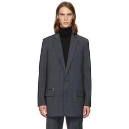 Tibi SSENSE Exclusive Grey Wool Windowpane Check Long Blazer 192095M19500603GB
