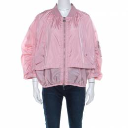 Moncler Pink Layered Zip Front Lightweight Bomber Jacket XL 220168
