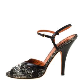 Missoni Black Embellished Patterned Knit Ankle Strap Sandals Size 40 219848