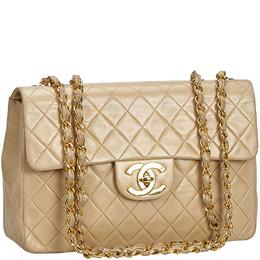 Chanel Beige Matelasse Leather Shoulder Bag 218949
