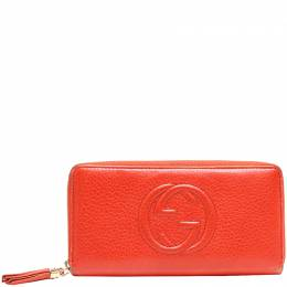 Gucci Orange Leather Soho Continental Wallet 220055