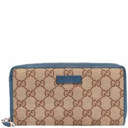 Gucci Blue GG Canvas Long Wallet 220052