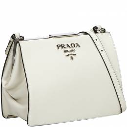 Prada White Saffiano Leather Light Frame Crossbody Bag 218056