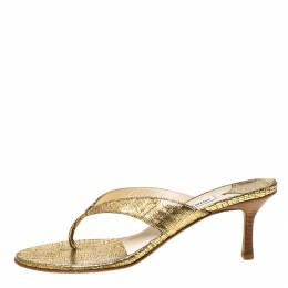 Jimmy Choo Gold Textured Leather Thong Wooden Heel Sandals Size 39.5 222220