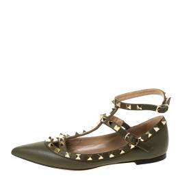 Valentino Olive Green Leather Rockstud Ankle Strap Ballet flats Size 35.5 222226