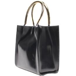 Salvatore Ferragamo Black Patent Leather Tote Bag 220110