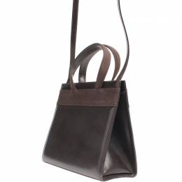 Salvatore Ferragamo Brown Leather Kelly Top Handle Bag 220112