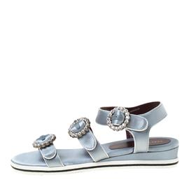 Marc By Marc Jacobs Light Blue Crystal Embellished Satin Charlotte Sandals Size 39 222238