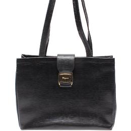 Salvatore Ferragamo Black Leather Tote Bag 220106