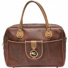 Etro Brown Paisley PVC Top Handle Bag 220012
