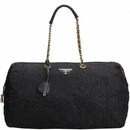Prada Black Quilted Nylon Chain Shoulder Bag 218645