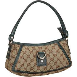 Gucci Brown/Beige GG Canvas D-Ring Baguette Bag 219604