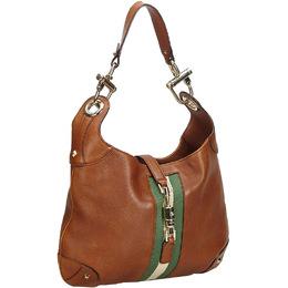 Gucci Brown Leather Nailhead Jackie Shoulder Bag 219513