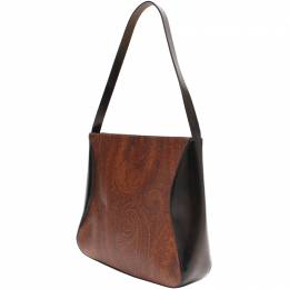 Etro Black/Brown Paisley Printed Coated Canvas Shoulder Bag 220025