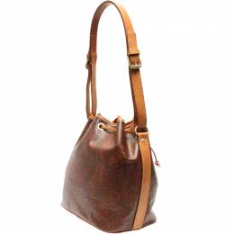 Etro Brown Paisley Printed Coated Canvas Bucket Bag 220022