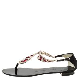 Giuseppe Zanotti Design Black Crystal Embellished Thong Sandals Size 37 222119