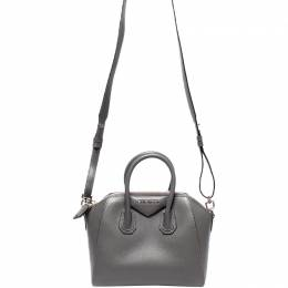Givenchy Gray Leather Mini Antigona Top Handle Bag 220038