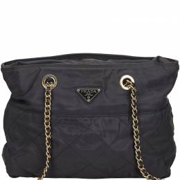 Prada Black Quilted Nylon Chain Tote Bag 219577