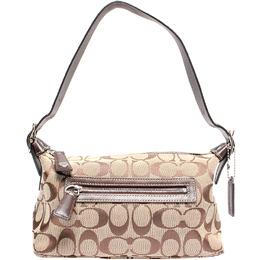 Coach Brown Signature Canvas Leather Shoulder Bag 219995