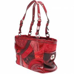 Coach Red Gallery Patchwork Canvas Tote Bag 219993