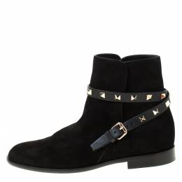 Valentino Black Suede Rockstud Trim Strap Flat Ankle Boots Size 37 222130
