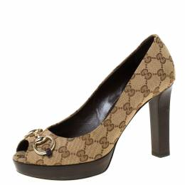 Gucci Beige/Brown Guccissima Canvas Horsebit Peep Toe Platform Pumps Size 39 222131