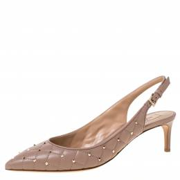 Valentino Beige Quilted Leather Rockstud Embellished Pointed Toe Slingback Sandals Size 41 222137