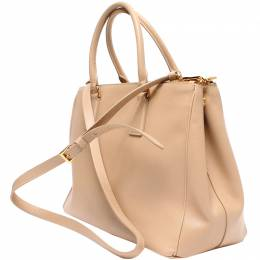 Prada Beige Saffiano Lux Leather Tote Bag 220187