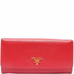 Prada Red Saffiano Lux Leather Continental Wallet 220186