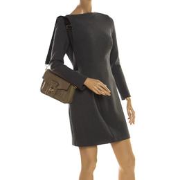 Karl Lagerfeld Olive Green Leather K/Pin Closure Crossbody Bag 219963