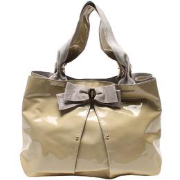 Salvatore Ferragamo Beige Patent Leather Tote Bag 220082