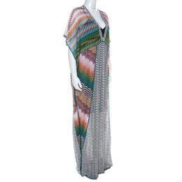 Missoni Multicolor Patterened Knit Perforated Yoke Maxi Kaftan Dress M 220172